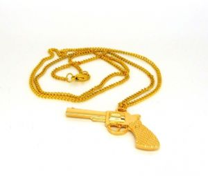 Pistol golden pendant necklace, Pistol 5cm long